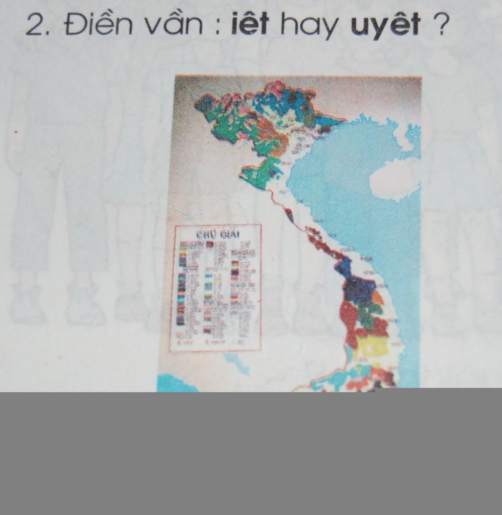 Bản đồ Việt Nam không thể hiện rõ quần đảo Hoàng Sa, Trường Sa tại trang 78 sách tiếng Việt lớp 1, tập 2.